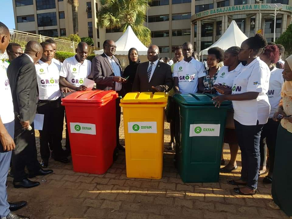 Professor George Nasinyama displaying the new climate -smart recycling system at KIU. ( PHOTO/PML Daily)