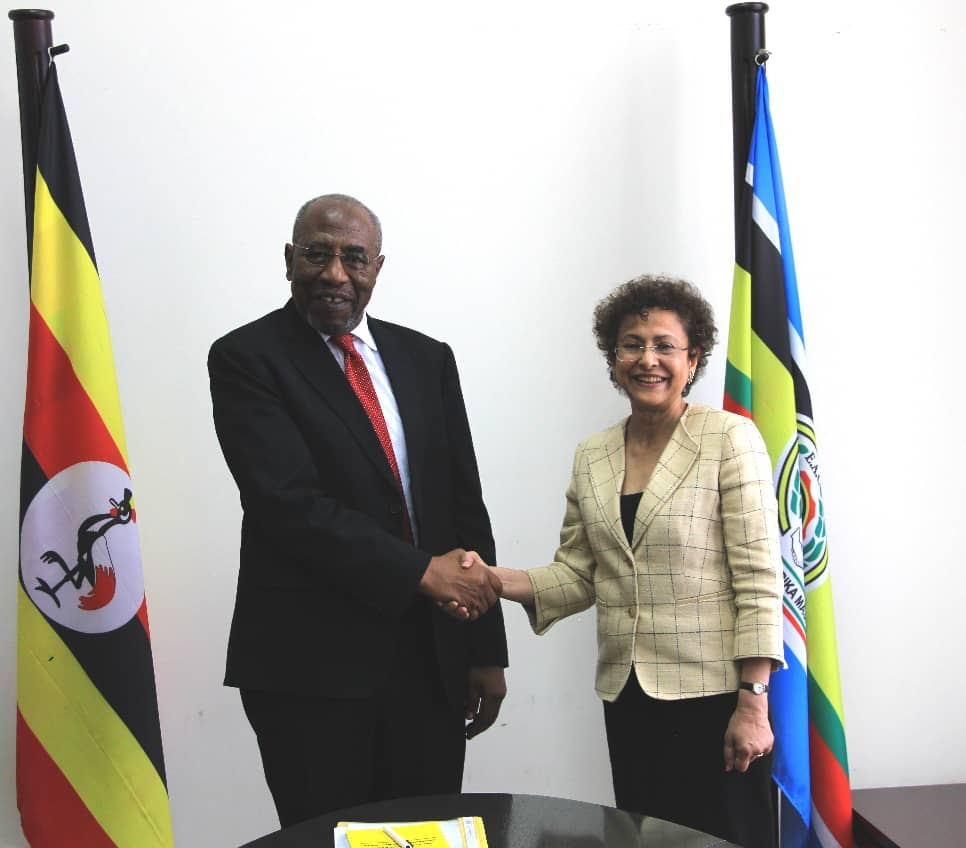 Prime Minister Rt. Hon Ruhakana Rugunda meeting Ms. Irene Khan Director General IDLO earlier in September 2019. (PHOTO/Courtesy)