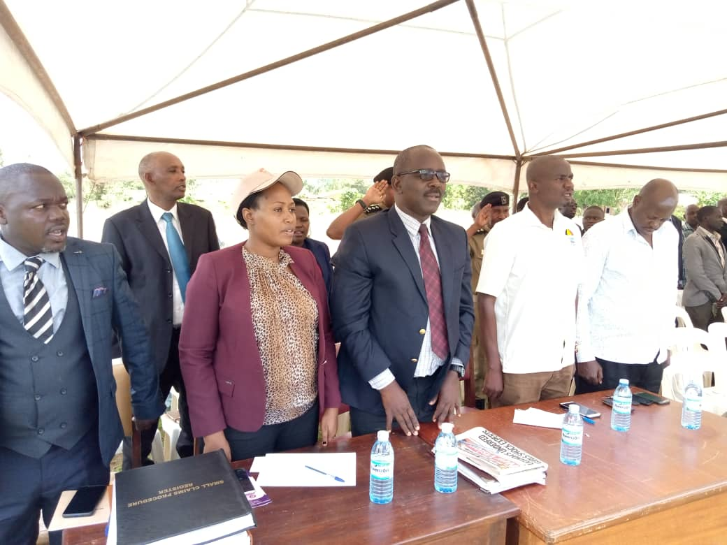 From left: Grade 1 Magistrate Oburu Morris, Ag. Registrar SCP Lillian Bucyana, Chief Magistrate Masaka, Sejjemba Deo. (PHOTO/Courtesy)
