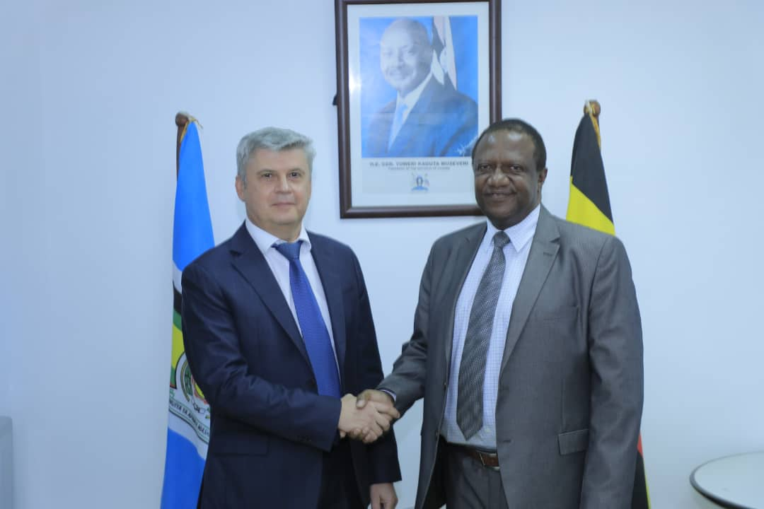 Ministry of Foreign Affairs Permanent Secretary Patrick Mugoya and Russian Ambassador to Uganda Mr. Alexander Palyakov.
