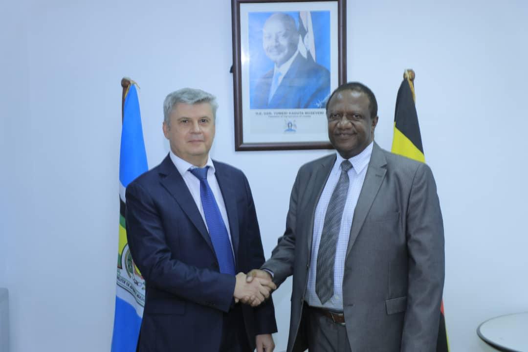 Ministry of Foreign Affairs Permanent Secretary Patrick Mugoya and Russian Ambassador to Uganda Mr. Alexander Palyakov.