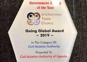 The Going Global Award 2019 in the aviation category was presented to Uganda Civil Aviation Authority. (PHOTO/Courtesy)
