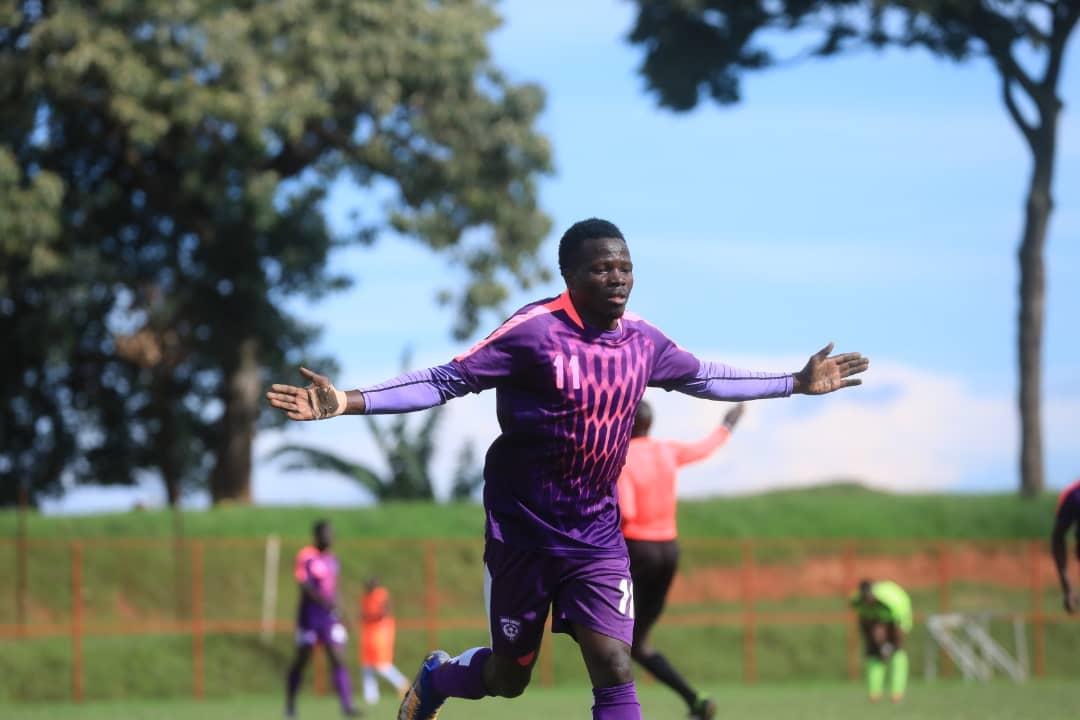 Sekajugo celebrates scoring the first goal against Proline FC on Sunday. (PHOTO/Wakiso Giants)