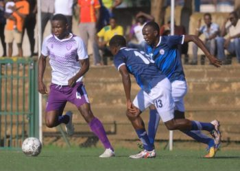 Action between Police FC and Wakiso Giants FC on Tuesday afternoon. (PHOTOS/Wakiso Giants)