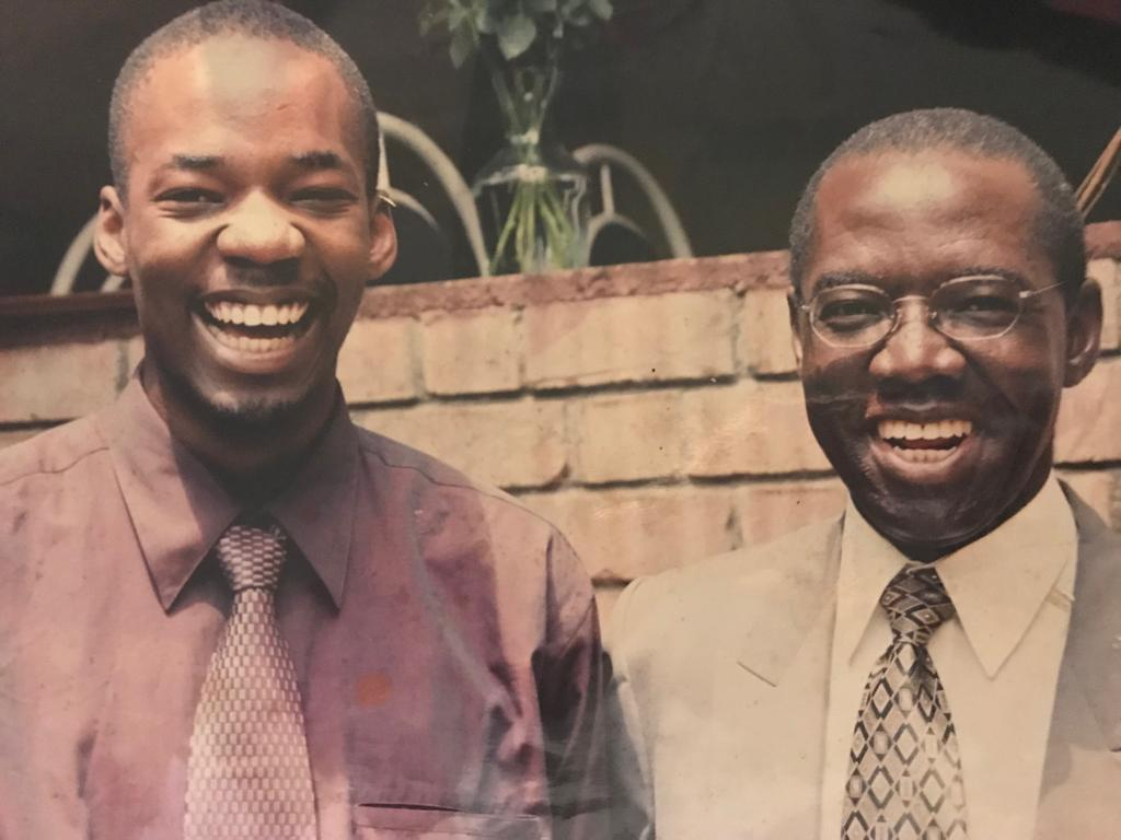 Jordan Kiwanuka and his father Mohan in good times. His mother says the young man has been set up against his dad by the step mother
