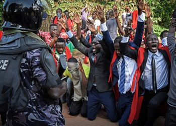 Makerere University students protesting 15% tution increment (PHOTO/File)