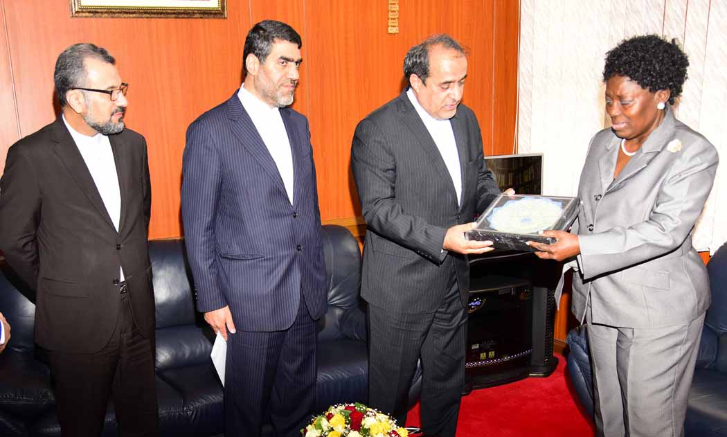 LEFT TO RIGHT: Mr. Asadollah Eshragh Jahromi; H.E. Amb. Morteza Mortazavi and H.E. Ardeshir Noorian meeting with Speaker Rebecca Kadaga at Parliament.