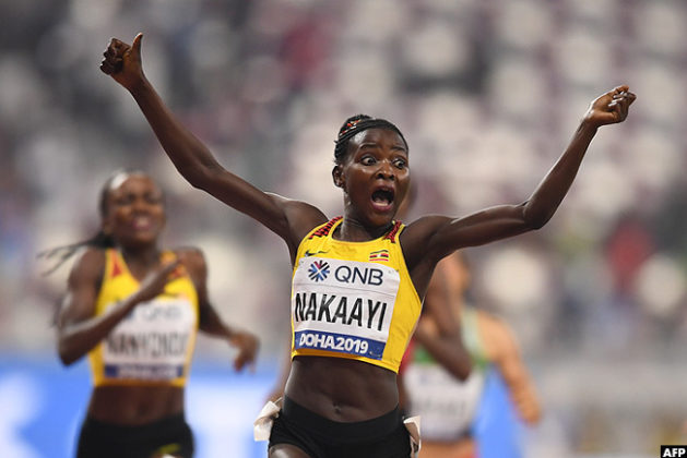 Nakaayi celebrates after winning the 800m race in Doha last month. (PHOTO/Courtesy)