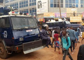 Police deployed near the Old Taxi Park to enforce relocation of taxis to Usafi Park on October 29, 2019