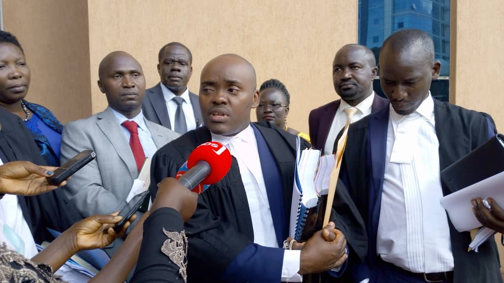 Mr Medard Segona addressing journalists after the hearing of the case challenging the sole candidature for the president. Photo by Rachel Agaba