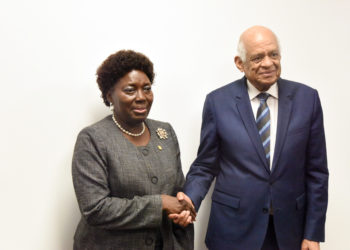 Speaker Rebecca Kadaga and Egypt Speaker, Ali Abdel-Aal, pose for a photo after a bilateral meeting held at the sidelines of the IPU Meeting in Serbia.