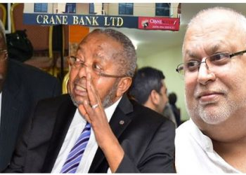 Auditor General, Mr John Muwanga, Bank of Uganda (BoU)  Governor, Mr Tumusiime-Mutebile, and tycoon Sudhir Ruparelia. (PHOTO/File)