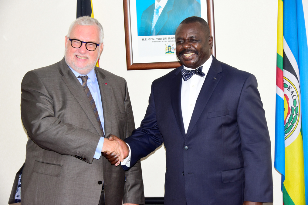 The Ambassador of Belgium to Uganda with the Deputy Speaker, Jacob Oulanyah, at Parliament.