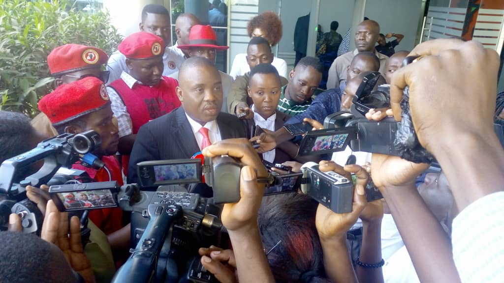 The Lord mayor Erias Lukwago talking to journalists after court. Photo by Rachel Agaba