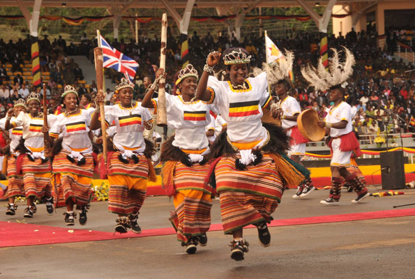 Tradtional dancers perform during celebrations to mark Uganda's 50th anniversary independence celebrations at Kololo ceremonial grounds yesterday.
