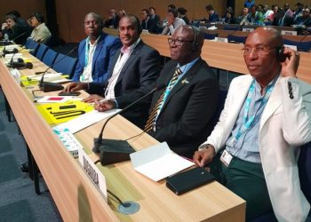 UCC boss Eng Godfrey Mutabazi (extreme right) ICT and National Guidance Minister Frank Tumwebaze (second left) together with other ICT delegates in Dubai as Uganda seeks re-election at ITU Council. (PHOTO/File)