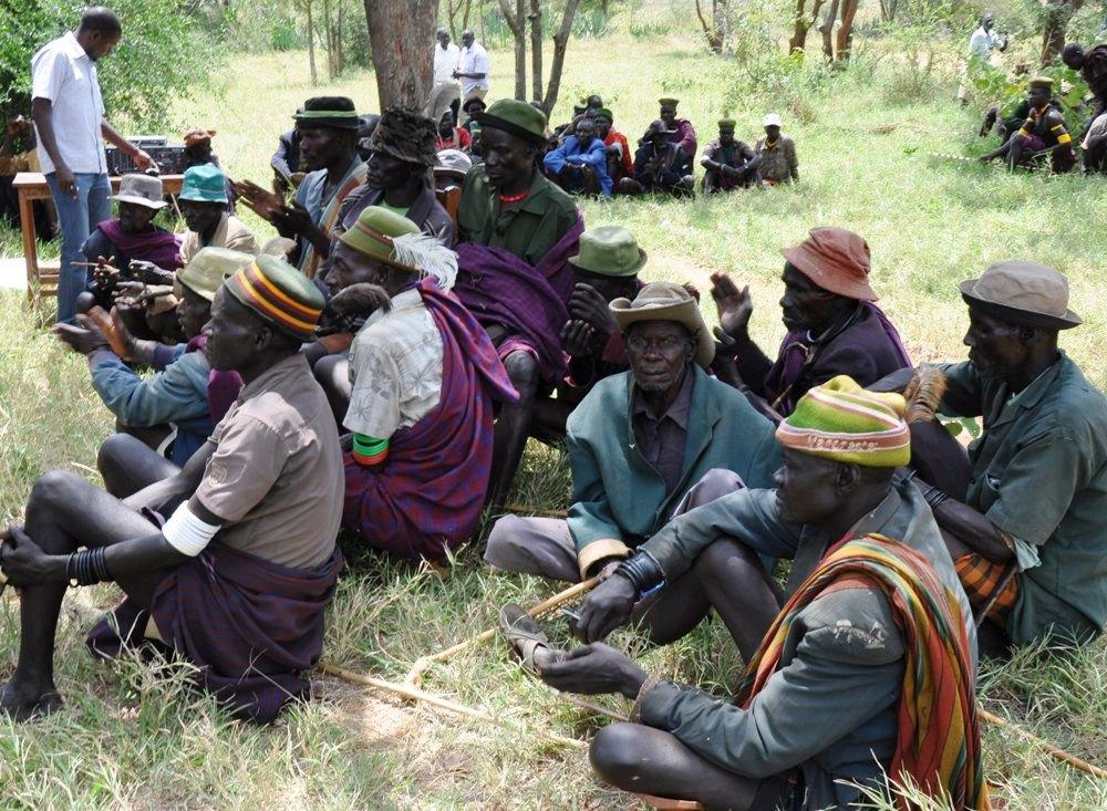 Turkana and Karimojong elders attending a meeting in Kaabong last month (photo Jonathan Opolot