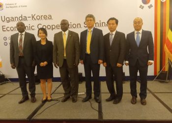 HE. Ha Byunga-Kyoo,the Korean Ambassador to Uganda flanked by Korean officials and Investors at the Uganda-Korea Economic Cooperation Seminar, held at the Kampala Serena Hotel on Monday, October 28. (PHOTO/Javira Ssebwami)