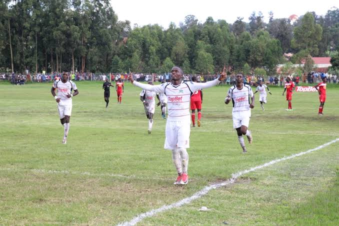 Mbarara City FC players celebrate after scoring in a recent UPL encounter at Kakyeka. The Ankole Lions overcame SC Villa 2-1 at the same venue on Saturday. (PHOTO/File)