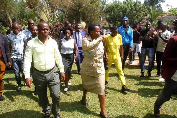 State House comptroller Lucy Nakyobe with the youth recently. (PHOTO/Courtesy)