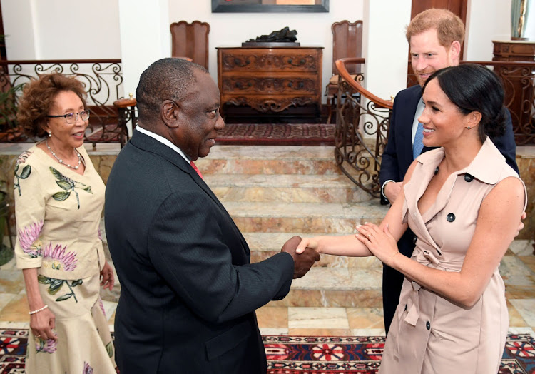 Prince Harry, Duke of Sussex and Meghan, Duchess of Sussex meet with South African President Cyril Ramaphosa and his wife Tshepo Motsepe at the Presidential Official Residence on day ten of their tour in Africa on October 2, 2019 in Pretoria, South Africa. (Photo by Toby Melville - Pool/Getty Images)