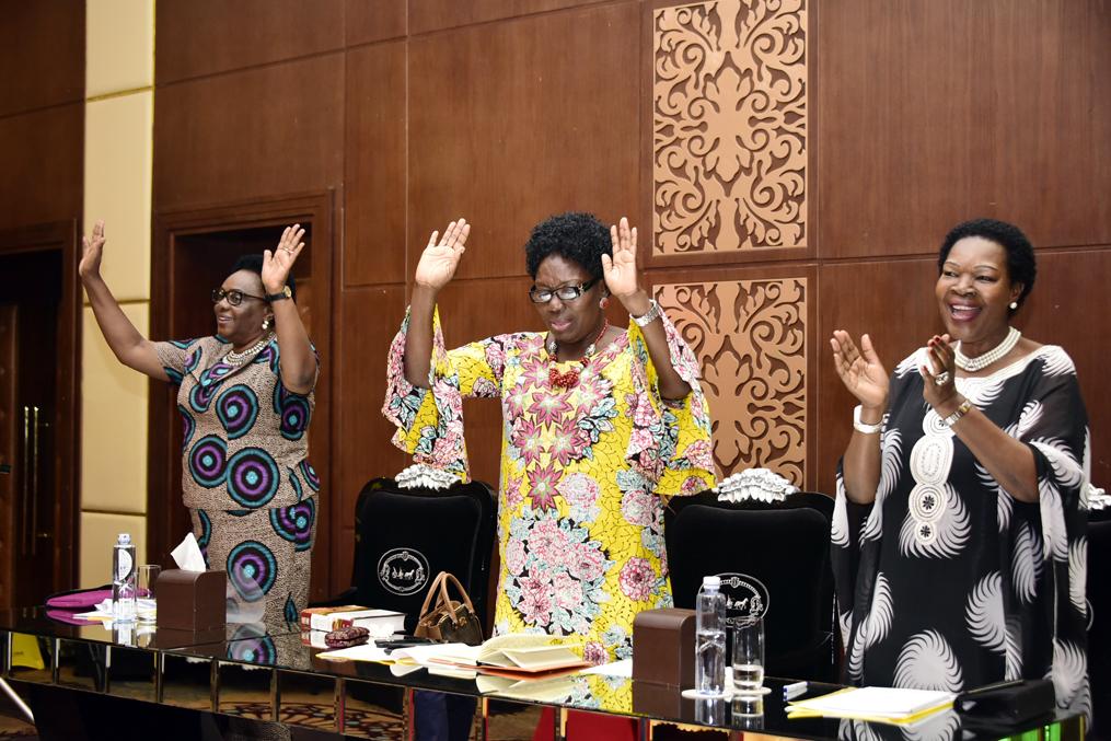 The Speaker of Parliament, Rebecca Kadaga (centre) with Hon. Mary Karooro Okurut and Hon. Jovah Kamateeka during the 5th Women's Forum of the National Prayer Breakfast 2019 held at the Pearl of Africa Hotel, Nakasero.