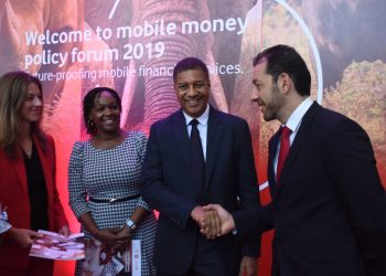 Representative from the Bank of Tanzania Abert Cesari( Second right) in group photo with Managing director of Vodacom Tanzania PLC, Hisham Hendi (Far right), Managing Executive, Legal and regulatory from Vodacom Group, Judith Obholzer (Far left) and Director of Corporate Affairs, Vodacom Tanzania Rosalynn Mworia (Second left) during release of Vodacom's Future-Proofing Mobile Financial Services report in Dar es salaam (PHOTO/Courtesy)