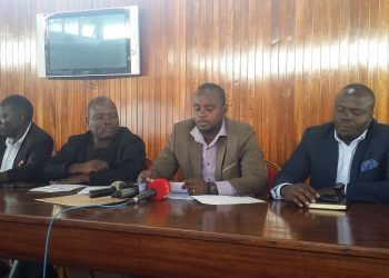 MPs Nambeshe, Abala and Mwine addressing journalists at Parliament (PHOTO/PML Daily).