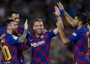 Arthur Melo of Barcelona celebrates after scoring his sides first goal during the Liga match between FC Barcelona and Villarreal CF at Camp Nou on September 24, 2019 in Barcelona, Spain. (Photo by Jose Breton/Pics Action/NurPhoto)