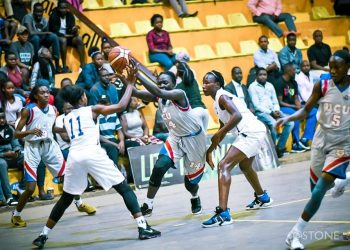 Abei Priscilla (14) sank the game winning shot as UCU Lady Canons defeated JKL Lady Dolphins on Wednesday. (PHOTO/FUBA)