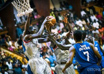 Action between UCU Canons and City Oilers in game one of the FUBA NBL at the MTN Arena on Wednesday. (PHOTO/FUBA)