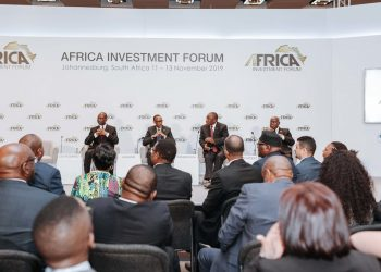 President of the Republic of Mozambique, Filipe Nyusi; President of the Republic of Rwanda Paul Kagame; President of the Republic of South Africa, Cyril Ramaphosa President; President of the Republic of Ghana, Nana Akufo-Addo, in a conversation at the Africa Investment Forum on the investment opportunities in Africa.