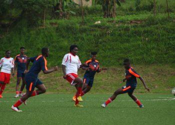 Action between Crested Cranes and UCU Lady Cardinals at Njeru. (PHOTOS/FUFA)