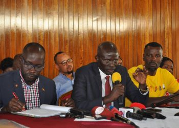 Denis Obua (Uganda) Gedeon Gatpan addressing journalists at Parliament ahead of Inter-parliamentary games in December