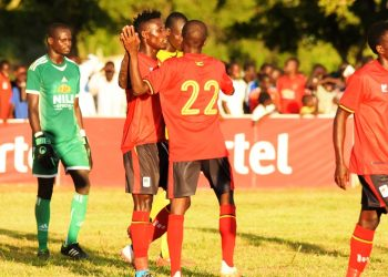Some of the Uganda Cranes players celebrate one of their four goals on Saturday. (PHOTOS/FUFA)