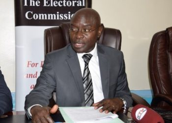 EC chairman, Justice Simon Mugenyi Byabakama addressing media