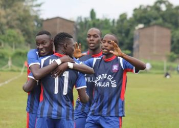 Some of Villa's players celebrate one of Kirya's (11) goals against Tooro United FC on Wednesday. PHOTO/Courtesy)
