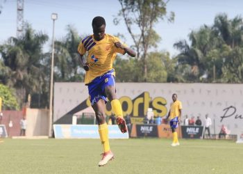 Jackson Nunda celebrates after scoring one of his two goals against Police FC on Saturday. (PHOTO/KCCA FC)