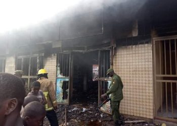 A fierce fire last night blazed Soft supermarket at Wantoni in Mukono Municipality burning stock worthy millions of shillings (PHOTO/Elizabeth Namajja).