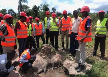 Water Engineers doing a survey ahead of clean water extension to Luwero district (PHOTO/Courtesy).