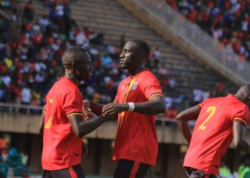 Cranes players celebrate Emmanuel Okwi's opening goal on Sunday (PHOTO/FUFA Media).