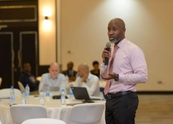 Chris Lukolyo, the Digital Country Lead at UNCDF speaks during the workshop at Mestil Hotel in Kampala (PHOTO/Courtesy).