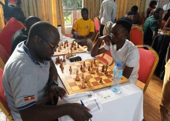 IM Arthur Ssegwanyi against Mohammed Isiiko in the second round. (PHOTO/Courtesy)