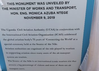 The ICAO Flag at the source the source of the Nile by Uganda Civil Aviation Authority (PHOTO/Javira Ssebwami).