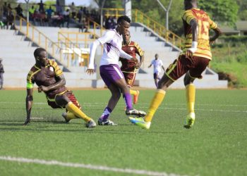 Action between Maroons FC and Wakiso Giants FC on Saturday. (PHOTO/Wakiso Giants)