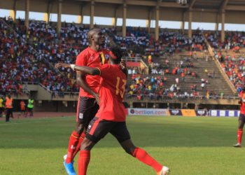 Emmanuel Okwi (L) and Fahad Bayo (R) were both on target in the victory over Malawi on Sunday. (PHOTO/FUFA)