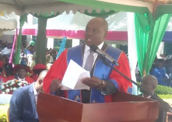 KIU founder and Chairman Board of Trustees Al Haji Hassan Basajjabalaba addressing graduands at university main campus in Kansanga, Kampala on Saturday