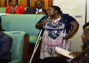 Hon Safia Nalule representing PWDs making her remarks on the floor of Parliament  (PHOTO/Courtesy)