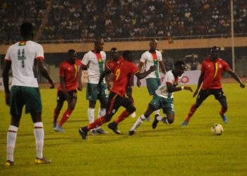 Action between Burkina Faso and Uganda on Wednesday night. (PHOTO/FUFA)