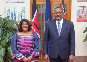 Kenya President Uhuru Kenyatta and  Jewel Taylor (L), the Vice President of the Republic of Liberia at State House in Nairobi (PHOTO/Courtesy).